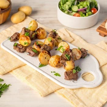 Oyster Sauce Steak and Potato Kebabs